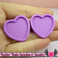 Purple Resin Cameo Setting (5 pieces) Heart Bezel