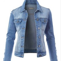 Frayed Sleeve Denim Jacket, Light Wash