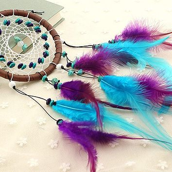 Vibrant Blue & Purple Wicker Dream Catcher With Wood Beads & Turquoise Charm