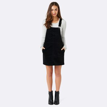 Kira corduroy Pinafore dress Black - Womens Fashion | Forever New