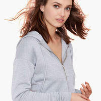 Gray Zip-up Hooded Cropped Sweater