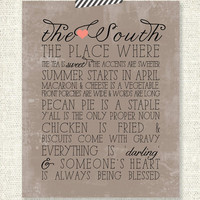 """THE SOUTH - Southern Charm - Vintage Grunge  - 11"""" x 14"""" Custom Designed Wall Art"""
