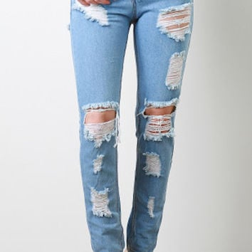 So Ripped & Destroyed Pants Denim Jeans