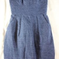 "~~~ SUMMER PARTY ~~~ NWT $295 MILLY BLUE ""CHAMBRAY DENIM"" STRAPLESS DRESS ~~ 0"