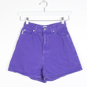 Vintage BONGO Denim Shorts High Waisted Shorts Purple Colored Denim Jean Shorts Mom Shorts 1980s Denim 80s Shorts 25 Waist XS Extra Small 3