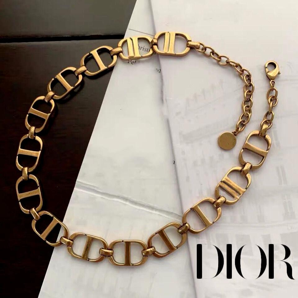Image of Dior vintage CD letter necklace clavicle chain