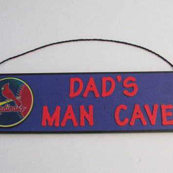 MLB St. Louis Cardinals  Baseball Dad's Man Cave Sign - Father's Day - Personalized Kids Name Sign