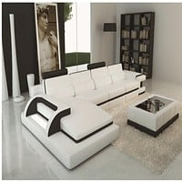 Luxury Polaris White And Black Contemporary Leather Sectional Sofa With Light