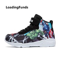 LoadingFunds Kid Sneakers Boy Basketball Shoes Running Shoes The Avengers Baby Children shoes Sport boot Cartoon gamin chaussure