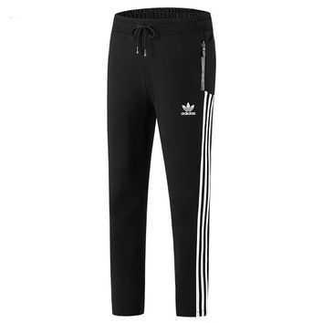 ADIDAS Classic Popular Men Casual Print Pants Trousers Sweatpants Black