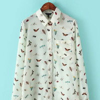 White Colored Insects Printed Lapel Pocket Long Sleeve Shirt