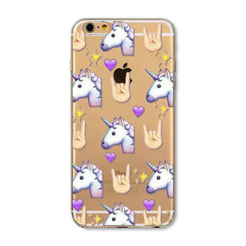 Facebook Unicorn Rock Star Emoji Collage Painted Soft TPU Silicon Cases CoverCase For Apple iPhone 4 4S 5 5S SE 5C 6 6S 6 Plus 6S Plus