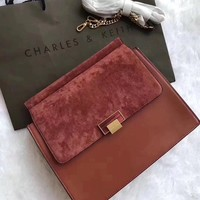 CK CHARLES & KEITH WOMEN'S SUEDE LEATHER INCLINED SHOULDER BAG