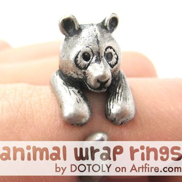 Large Panda Bear Animal Wrap Around Hug Ring in Silver - Size 4 to 9 Available