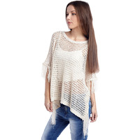 WHITE OPEN KNIT PONCHO CAPE