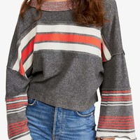 Free People - Cooper Stripe Bell Sleeve Top - Heather Grey