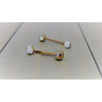 Christina piercing jewelry rose gold L bar VCH j curve opal barbell anodized titanium barbell pick your length