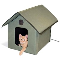 Outdoor Water-Resistant Heated Cat House in Olive Green