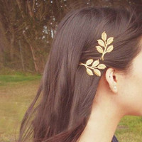 Gold Leaf Hair Pins - Set of Two