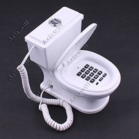 Asiawill® Cute Toilet Style Phone Home Novelty Gift Desk Cord Corded Telephone - Blue/White/Pink