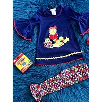 Back To School Colorful Navy Book Worm Pant Set