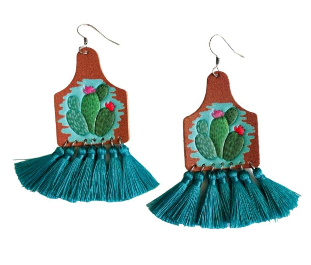 Image of Leather Cactus Earrings