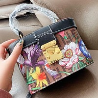 Fendi New fashion floral more letter print box shape shoulder bag crossbody bag handbag