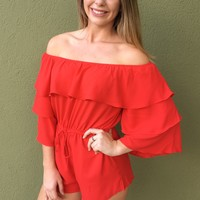 She Will Be Loved Romper- Red