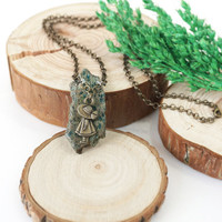 """Turquoise Jasper Raw Stone Pendant with Girl Charm Necklace, """"Lost in the Forest"""" Inspired Jewelry"""