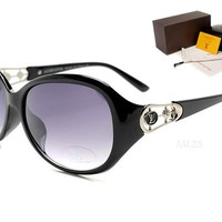 LV Mirrored Flat Lenses Street Fashion Metal Frame Women Sunglasses [2974244719]