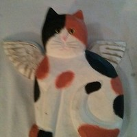James Haddon Signed Hand Carved Wooden Kitty Cat Angel Wings Calico Green Eyes