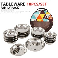18Pcs/Set Portable Stainless Steel Outdoor Camping Tableware Barbecue Picnic Plate Bowl Dinnerware