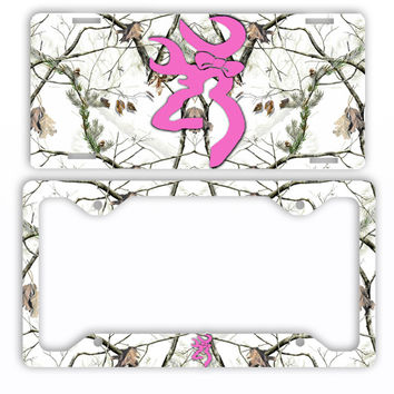 Browning Pink Bow Buck Head Deer Snow Camo License Plate Frame Car Tag Hunting