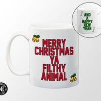 Merry Christmas Ya Filthy Animal - Coffee Mug - And Happy New Year - Happy Holidays - 11 oz Coffee Mug - Jingle Bells and Champagne