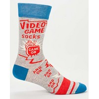 Video Game Men's Crew Socks in Blue, Red and Gray