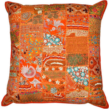 """24x24"""" Vintage Bohemian Indian throw Pillow in Orange, decorative gypsy throw pillow for couch bohemian patchwork ethnic indian pillow"""