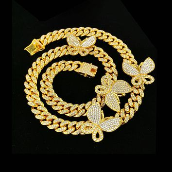Gold Cuban Link Butterfly Necklace