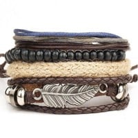 Braided Leather Stainless Steel Bangle Bracelet