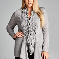 Cover Me Up Ruffle Front Cardigan-Plus Size