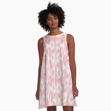 'Harlequin Marble Mix Blush' A-Line Dress by Lisa Argyropoulos