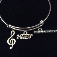Musical Notes Marching Band Silver Flute Charm Expandable Bracelet Adjustable Wire Bangle Gift Musician Music teacher