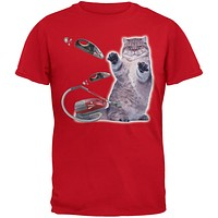 Galaxy Cat Vacuum Red Youth T-Shirt