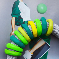 ON SALE Cool Sporty Green Statement Necklace