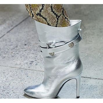 Women Pointed Toe Buckled Fashion High Heel Ankle Boots