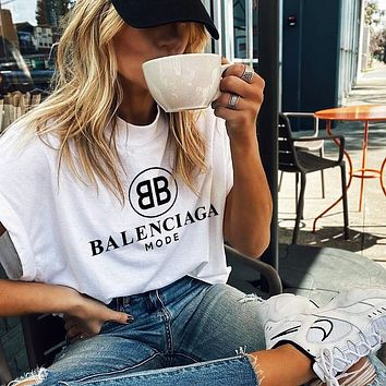 B Balenciaga Trending Women Man Letters Simple Print Tee Shirt Top White