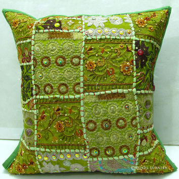 Yellow Indian Decorative Patchwork Embroidery Throw Pillow