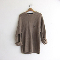 vintage light brown sweater. oversized slouchy pullover sweater. men's cotton sweater size L