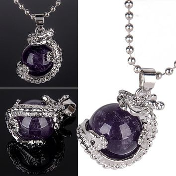 Fashion Gem Stone Round Ball Dragon Claw Pendant with Necklace Silver Plated Link Chain for Women Charm Jewelry 14Color