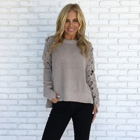 Homemade Sweater Top in Taupe