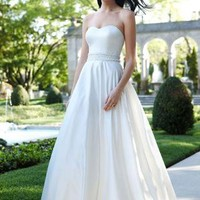 Strapless Satin A-Line with Beaded Waistband - David's Bridal- mobile